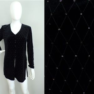 MSK Black Velvet Top Sparkly Soft Blouse Small